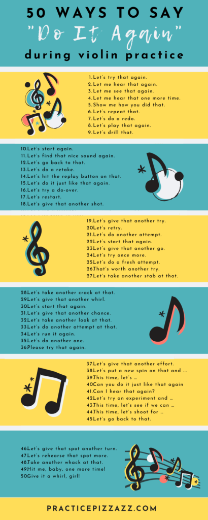 how to say do it again violin practice kids